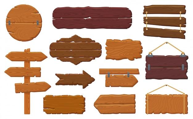 Houten planken. rustiek houten uithangbord, lege banners, hangend aanplakbord en retro houten geplaatste pictogrammen van de tekensillustratie. bord houten vintage, weg banner paneel pijl