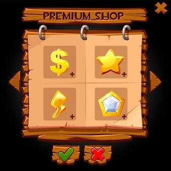 Houten pop-up etalageshop voor games. illustratie van een houten bord met pictogrammen om te winkelen.