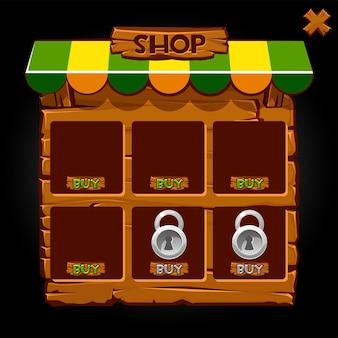 Houten pop-up etalageshop voor games.