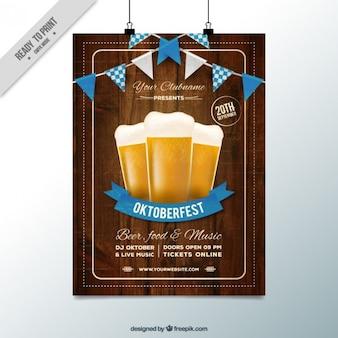 Houten poster voor het oktoberfest festival