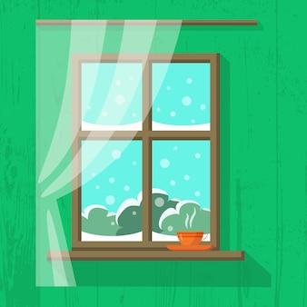 Houten raam met gordijn