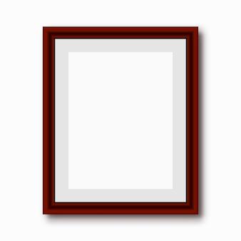 Houten rechthoekige 3d fotolijst met schaduw. vector illustratie