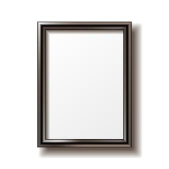 Houten rechthoekige fotolijst met schaduw.