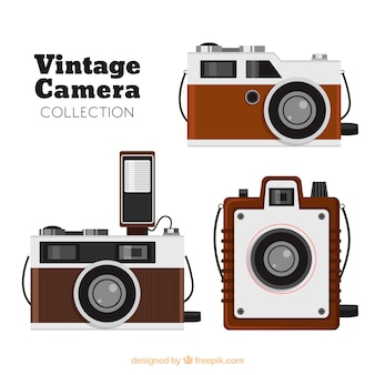 Houten retro camera collectie