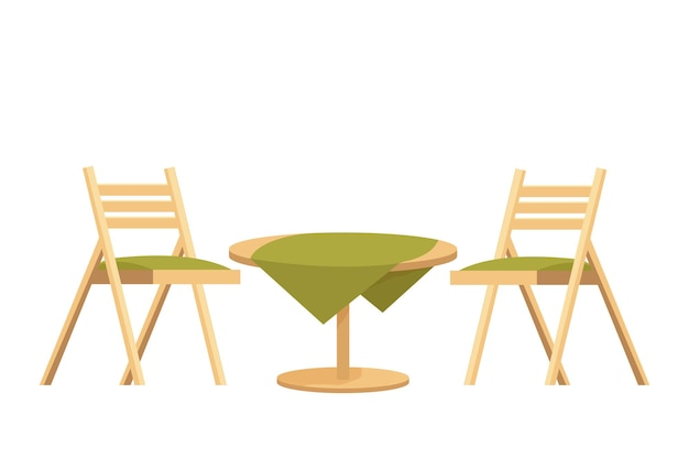 Houten ronde tafel met tafelkleed en twee stoelen getextureerd in cartoonstijl