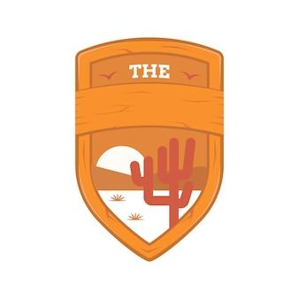 Houten schild badge met woestijn landschap illustratie