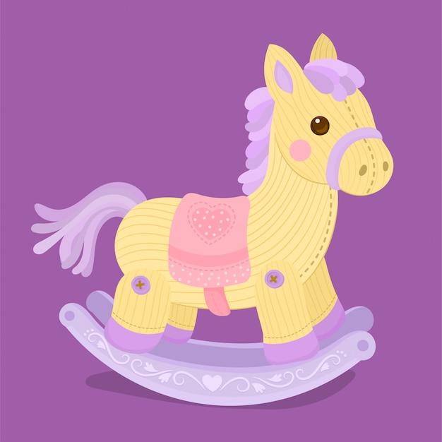 Houten schommelend stuk speelgoed geïsoleerd paard