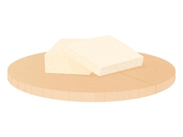 Houten snijplank met tofu sojakaas en bord geïsoleerd op witte achtergrond