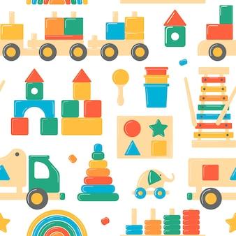 Houten speelgoed naadloos patroon voor kinderen Premium Vector