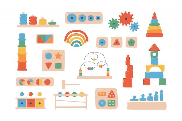Houten speelgoed voor kinderen voor montessori-spellen. educatief logisch speelgoed voor kleuters.