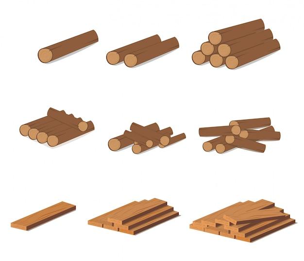 Houten stammen. bruine schors van gekapt droog hout. aankoop voor bouw.