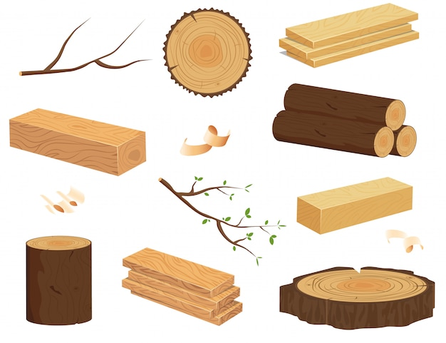 Houten stammen. gebarsten boomstammen geïsoleerde cartoon iconen se.