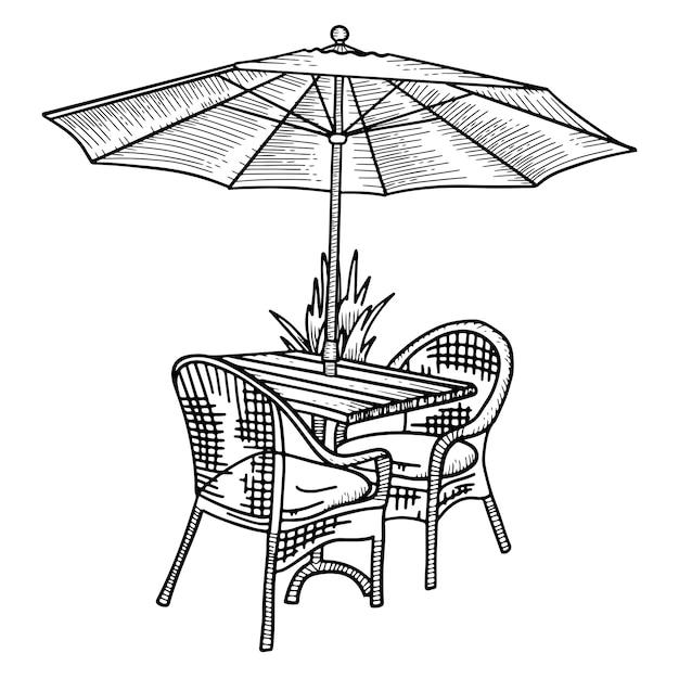 Houten tafel en twee rieten stoelen onder parasol. schets hand getekende illustratie. zwart-wit straat café meubilair