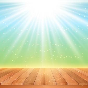 Houten tafel kijkt uit naar een starburst achtergrond