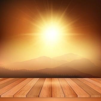 Houten tafel kijkt uit naar een weergave van een zonnig landschap