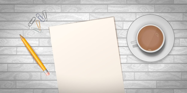 Houten tafel met kopje koffie en lege documentsjabloon
