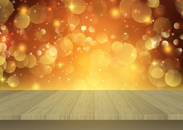 Houten tafel met uitzicht op een kerst bokeh licht achtergrond