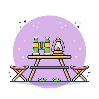 Houten tafel met verrekijker en lampillustratie. chillen, ontspannen, hout, tafel, natuur. platte cartoon stijl