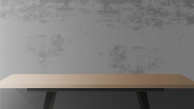 Houten tafel met zwart metalen onderstel. lege tafel, grijze, betonnen muur.