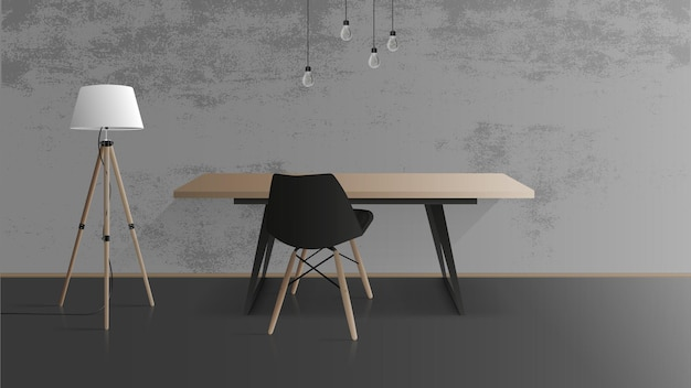 Houten tafel met zwart metalen onderstel. zwarte fauteuil. lege tafel, grijs, betonnen muur, vloerlamp met houten poten. illustratie