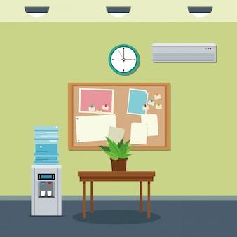 Houten tafel werktafel en koelere klok