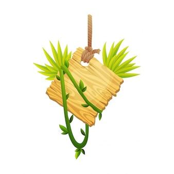 Houten teken in jungle regenwoud met tropische bladeren en ruimte voor tekst. cartoon spel illustratie. advertentie frame ontwerp. de oude raad verfraaide bladeren liaan