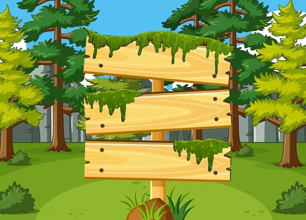 Houten teken sjabloon met bos op achtergrond