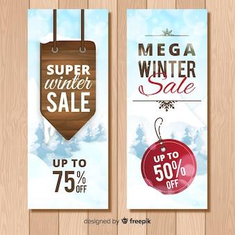 Houten teken winter verkoop banner