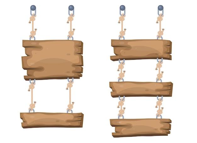 Houten tekenfilmborden die aan touwen hangen