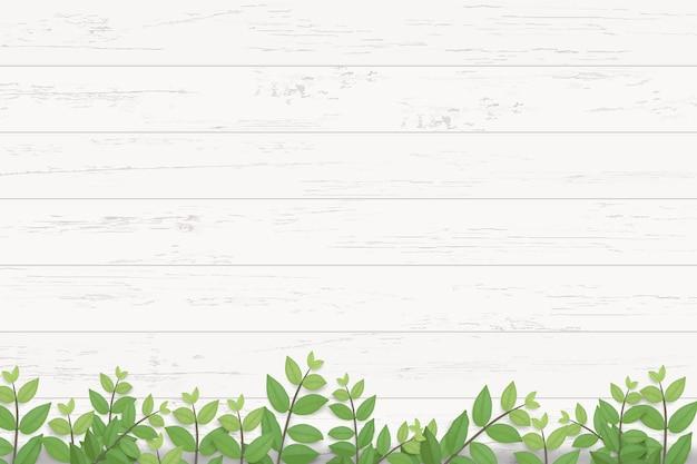 Houten textuur en groene bladeren.