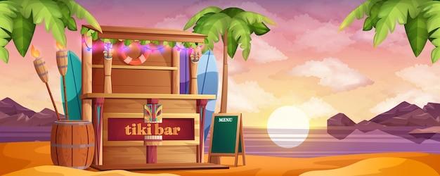 Houten tiki-bar op zeestrand bij zonsondergang in cartoonstijl