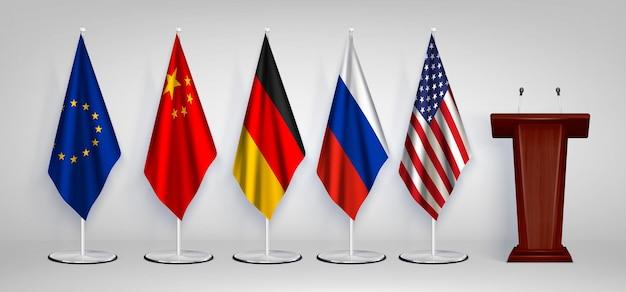 Houten tribune rostrum met 5 nationale en eu vlaggen op stands realistische set witte afbeelding set