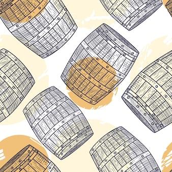 Houten vat naadloos patroon. graveerstijl. alcohol inpakpapier. vector illustratie