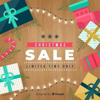 Houten vloer kerstmis verkoop achtergrond