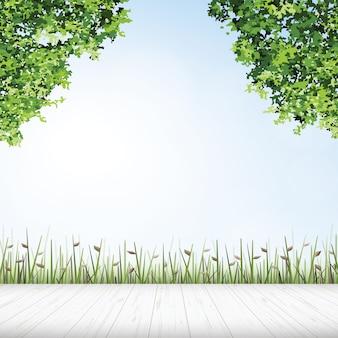 Houten vloer met framing van groene boom.