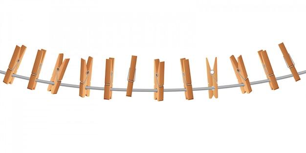 Houten wasknijper op waslijn met touw vectorillustratie geïsoleerd