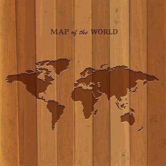 Houten wereldkaart