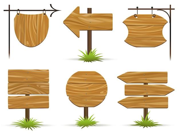 Houten wijzers en borden. houten platen en aanwijzingen voor informatie en reclame.