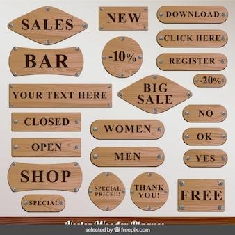 Houten winkel plaques