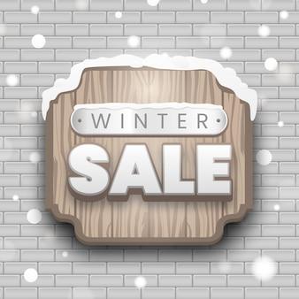 Houten winter verkoop wegwijzer