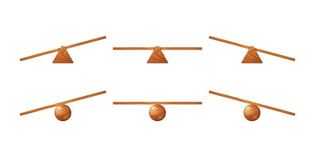 Houten wip kinderen schommel van bord op driehoek of cirkel staan vector cartoon set van onevenwichtige en e...