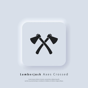 Houthakker assen gekruist pictogram. houtwerk en mechanische etiketten, insignes, emblemen en logo. gekruiste assen logo. bijl silhouet. twee gekruiste bijl kampeeruitrusting.