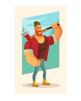 Houthakker man mascotte karakter houden bijl.
