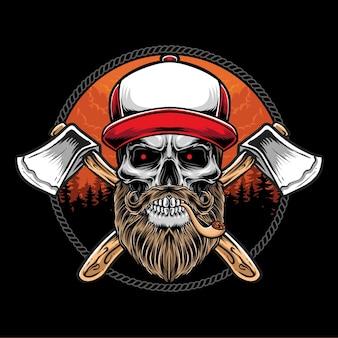 Houthakker schedel met bijl logo