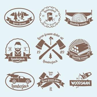 Houthakkers houtsnijder etiketten set met timmerwerk gereedschap en materialen geïsoleerde vector illustratie