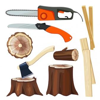 Houtindustrie. bosbouw tak en trunks luber collectie cartoon illustraties