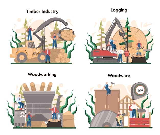 Houtindustrie en houtproductie concept set. logboekregistratie en houtbewerkingsproces. bosbouwproductie. wereldwijde classificatiestandaard voor de industrie.