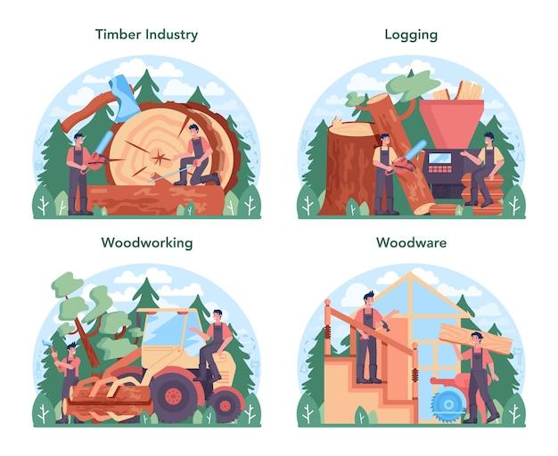 Houtindustrie en houtproductie concept set. loggen