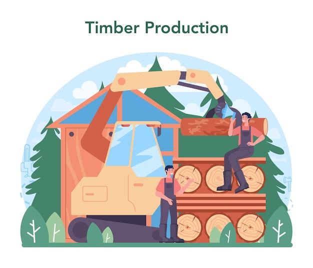 Houtindustrie en houtproductie. houtkap en houtbewerking