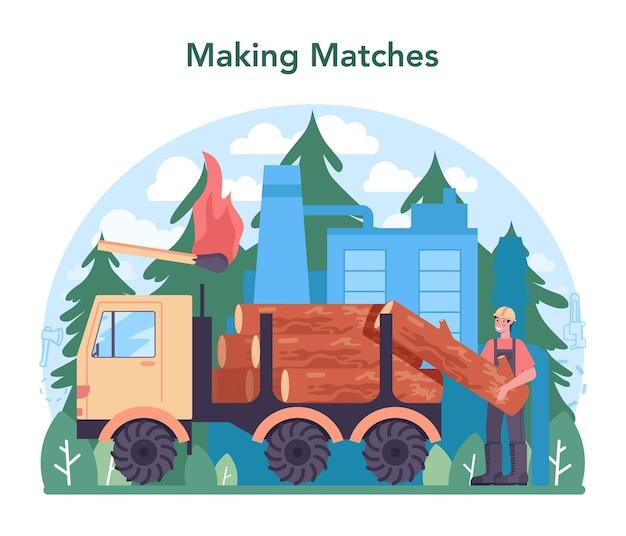 Houtindustrie, lucifers productie. logging en houtbewerkingsproces, houtproductie. wereldwijde classificatiestandaard voor de industrie. geïsoleerde platte vectorillustratie